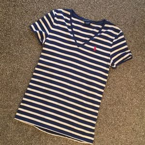 Ralph Lauren Sport Women's Tan & Blue Striped Tee